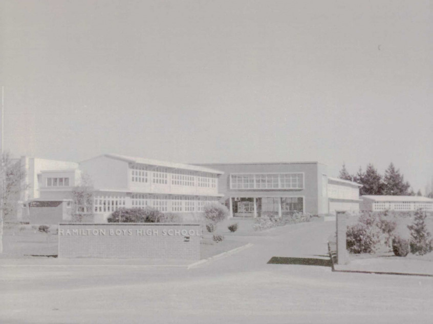 1959 HBHS Front view dated by Gingko tree